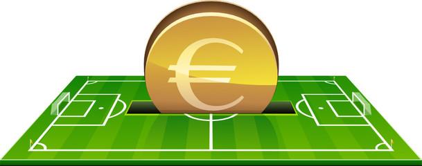 Investir des euros dans un terrain de football (détouré)