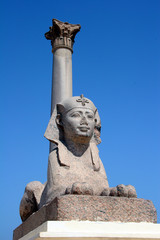 Egypt Alexandra Pompey Pillar and Sphinx and blue sky
