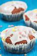 drei Muffins mit Zuckerguss