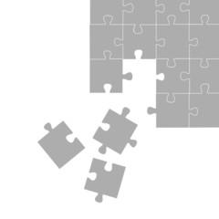 puzzle grau, verteilt