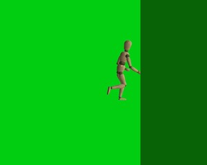 Abstract cartoon man running after green background