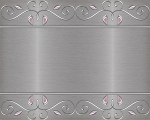 brushed metal background with jewels