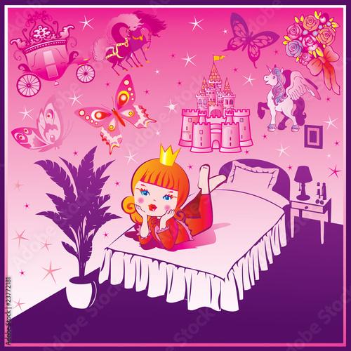 Papiers peints Chateau Dream Princess. Fairy-tale. Vector art-illustration.