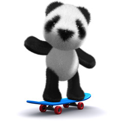 3d Teddy balances on skateboard