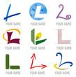 Ensemble d'Icones Lettre L pour Design Logos