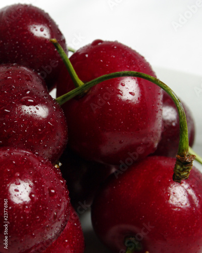 Süßkirschen vor weißem Hintergrund