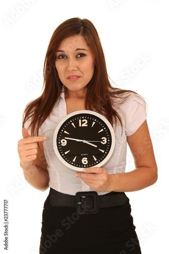 Sad Brunette and Clock