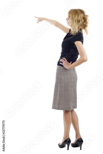 Business woman presenting over white background