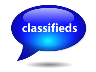 CLASSIFIEDS Speech Bubble Icon (web button ads online internet)