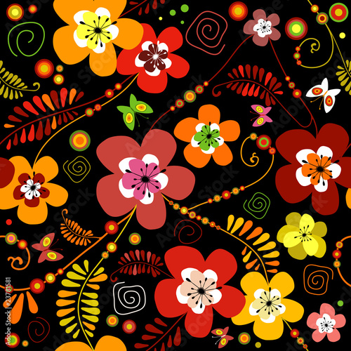 Motley seamless black flower pattern