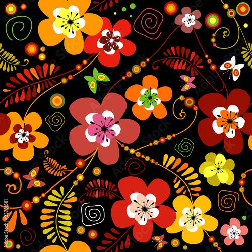 Motley seamless black flower pattern