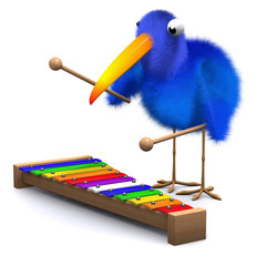 3d Blue bird plays the xylophone