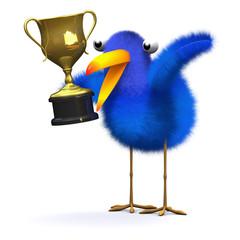 3d Bird holds the gold cup aloft
