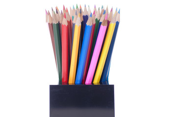 Coloured pencils in pot