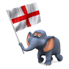 3d Elephant carries the English flag