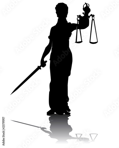 Silhouette of a statue of a Themis