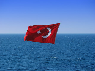 Turkish Flag Over Sea