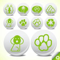 Glossy ecology eco icon set vector