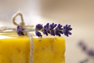 homemade soap bar with lavender flower, shallow DOF, super macro