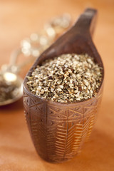 Zaatar-  a blend of herbs, sesame seeds and salt in a wooden bow