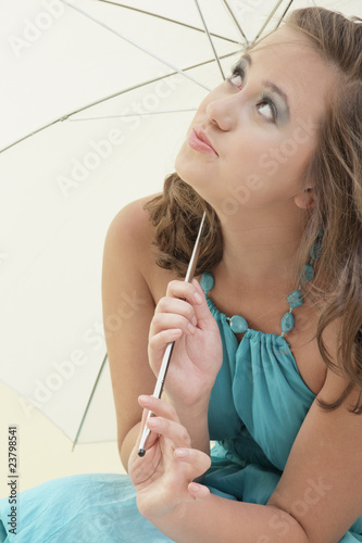 Woman waiting for the rain