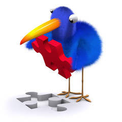 3d Blue bird finds the missing piece of the puzzle