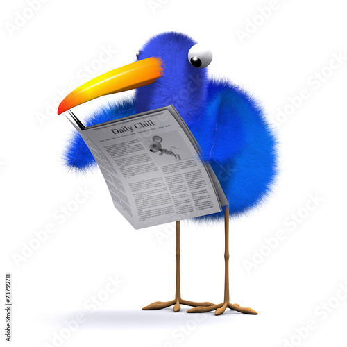 3d Blue bird reads the newspaper