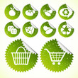 Green eco icon shopping button set