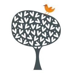 bird and tree wallpaper design