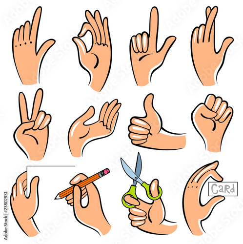 Vector illustration of hands. Useful for the instruction