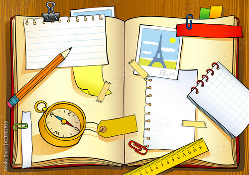 Vector illustration of notebook of traveler