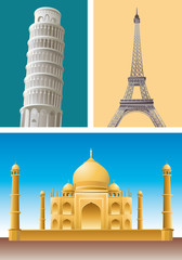 Landmark pisa eiffel Taj Mahal