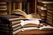 opened book, lying on the bookshelf