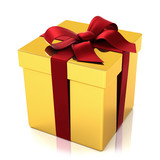 Fototapety Golden present box with red silk tie