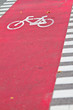 Red bike lane in a European city