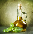 Olive Oil with fresh Basil.Vintage Styled