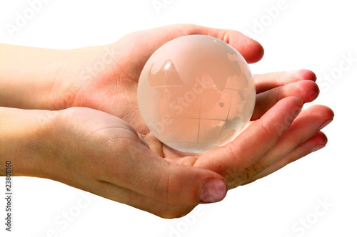 glass globe is in hands