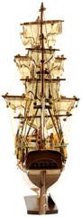 """vue arrière maquette du voilier """"Bounty"""", fond blanc"""