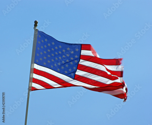 Windswept American flag
