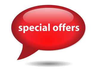 SPECIAL OFFERS Speech Bubble Icon (web button sale deals savings