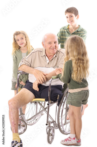 Grandpa talking with his grandchildren