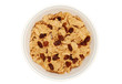 isolated bowl of bran and raisin cereal