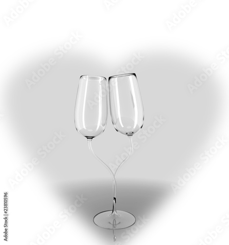 Two Champagne Glasses in Love
