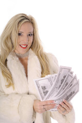 blonde in fur counting money
