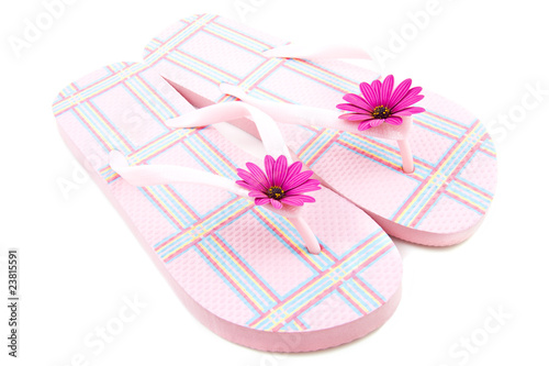 Pink chequered slippers