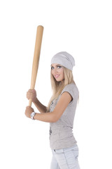 The girl with a baseball bat