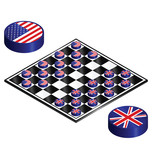 UK verses UnUSA on a checkers board poster