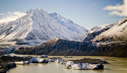 Snow, ice, rock, mountains on the Tasman Glacier, NZ.