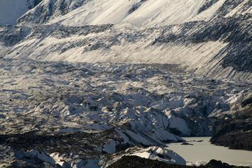 Snow, ice, rock on the Tasman Glacier, NZ