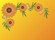 Vector Eps8 Zinnia Flower Border on Yellow Orange Copy Space